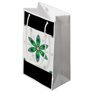 Flowers green small gift bag