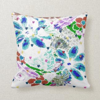 Flowers & Hearts Throw Pillow Throw Cushion