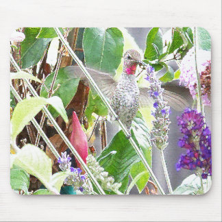 Flowers & Hummingbird Mousepad