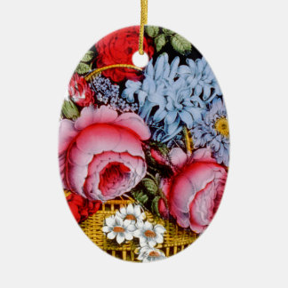 Flowers in a Basket Circa 1872. Christmas Ornament