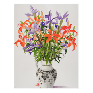 Flowers in a Black and White Jug Postcard