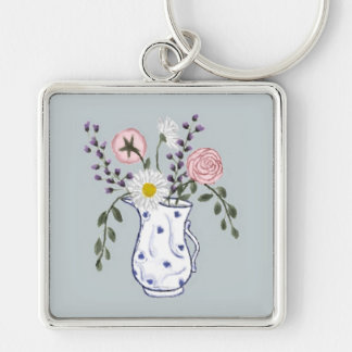 Flowers in a Blue and White Jug Keychain