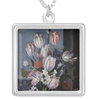 Flowers in a Crystal Vase, 1652 Silver Plated Necklace