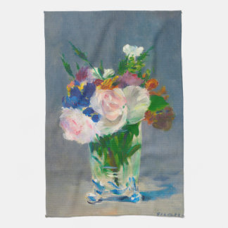 Flowers in a Crystal Vase by Manet Kitchen Towel