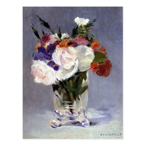 Flowers in a Crystal Vase by Manet Postcard