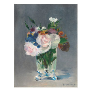 Flowers in a Crystal Vase, c.1882 (oil on canvas) Postcard