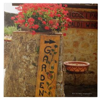 Flowers in a garden, Monteriggioni, Siena Tile