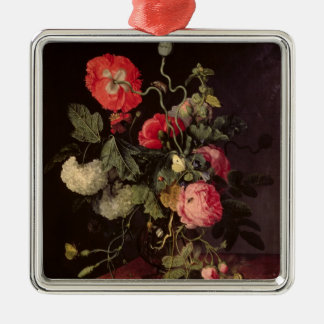 Flowers in a Glass Vase, 1667 Silver-Colored Square Decoration