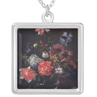Flowers in a Glass Vase Silver Plated Necklace