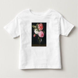 Flowers in a glass vase t-shirts