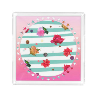Flowers in a pink star-studded circle acrylic tray