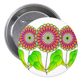 Flowers in a Row 7.5 Cm Round Badge