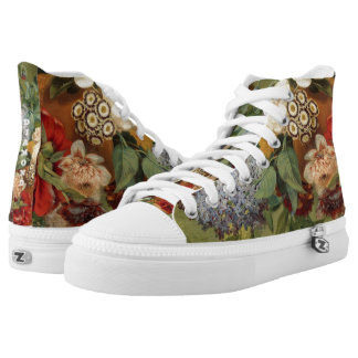 Flowers in a terra cotta vase high tops