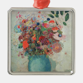 Flowers in a Turquoise Vase, c.1912 Silver-Colored Square Decoration