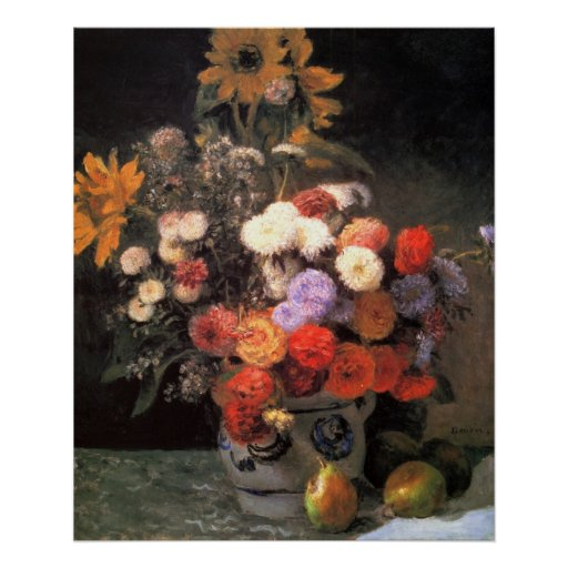 Flowers in a vase by Pierre Renoir Poster