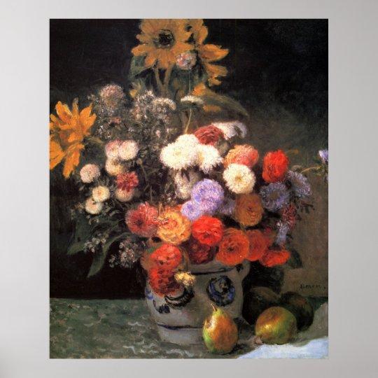 Flowers in a vase by Pierre Renoir Poster