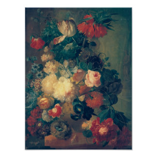 Flowers in a Vase with a Bird's Nest Print