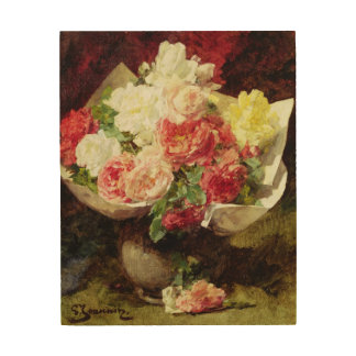 Flowers in a Vase Wood Wall Art