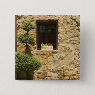 Flowers in a window box on a window sill, 15 cm square badge