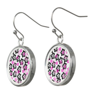 Flowers in Black and Pink Earrings