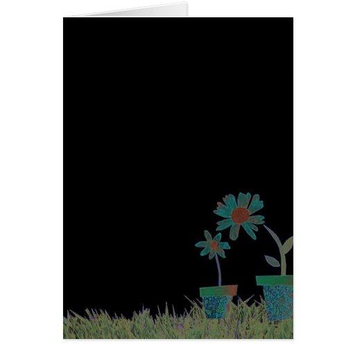 Flowers in black greeting cards