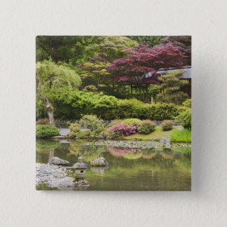 Flowers in bloom at Japanese Garden, 15 Cm Square Badge