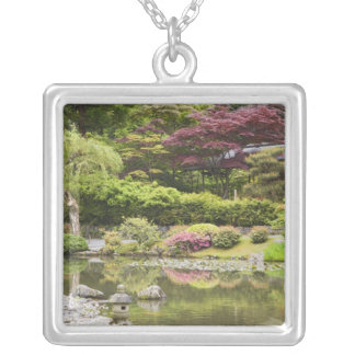 Flowers in bloom at Japanese Garden, Silver Plated Necklace