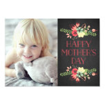 Flowers in Bloom | Chalkboard Mother's Day Card 13 Cm X 18 Cm Invitation Card