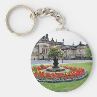 Flowers In Blossom In Front Of Turkish Baths In Ha Basic Round Button Key Ring