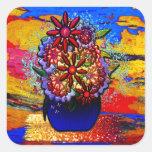 Flowers in Cobalt Blue Vase in Rain & Butterflies Sticker