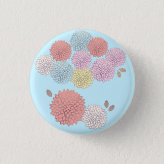 Flowers in colors (blue background) 3 cm round badge