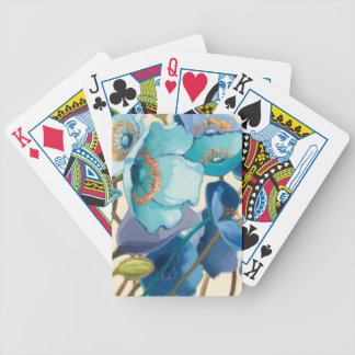 Flowers in Different Shades of Purple and Blue Bicycle Playing Cards