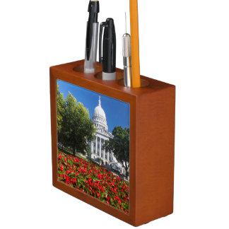 Flowers In Front Of State Capitol Building Desk Organiser
