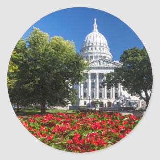 Flowers In Front Of State Capitol Building Round Sticker