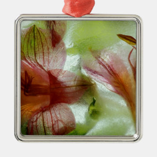 Flowers in ice christmas ornament