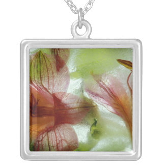 Flowers in ice silver plated necklace