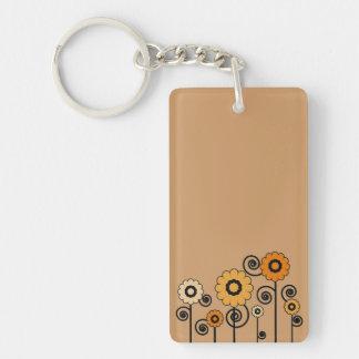 Flowers in Orange Tones Keychain