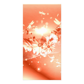 Flowers in soft red, white colors customized photo card
