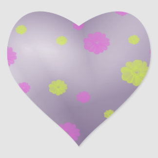 Flowers in Space Heart Sticker