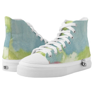 Flowers in Stained Glass Hi Top Printed Shoes