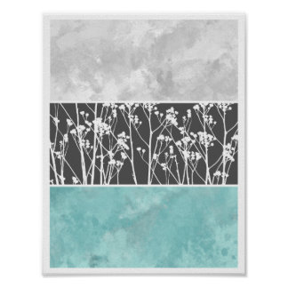Flowers in teal and greys poster