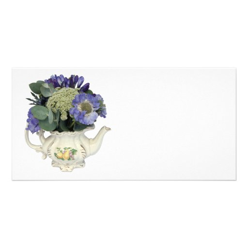 Flowers in teapot custom photo card