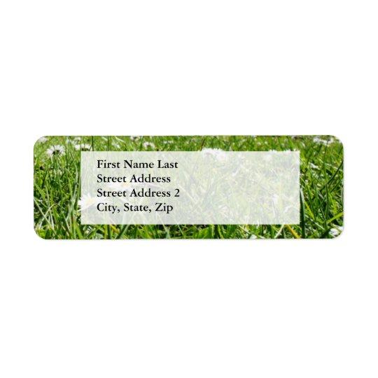 Flowers in the grass return address label