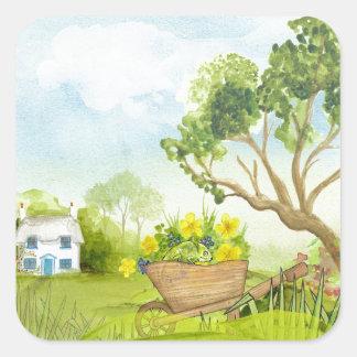 Flowers in the Wheelbarrow Landscape Square Sticker