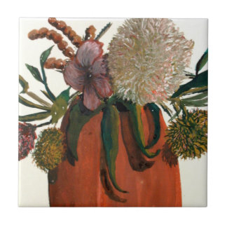 Flowers In Vase Watercolor Tile
