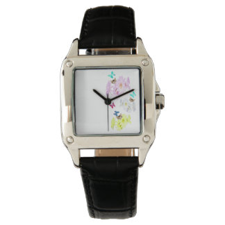 Flowers Kittens And Butterflies, Ladies Leather Watch