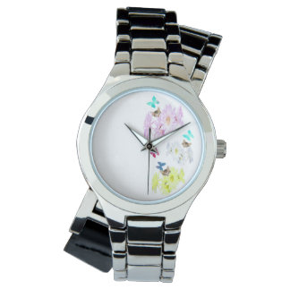 Flowers Kittens And Butterflies, Silver Wrap Watch