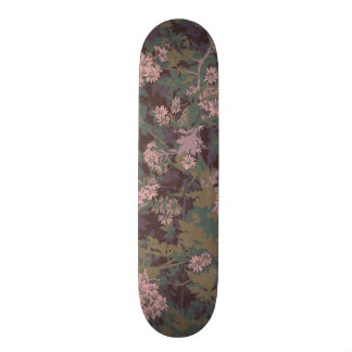 Flowers, leafs, and camouflage 21.6 cm skateboard deck