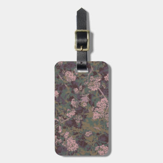 Flowers, leafs, and camouflage luggage tag