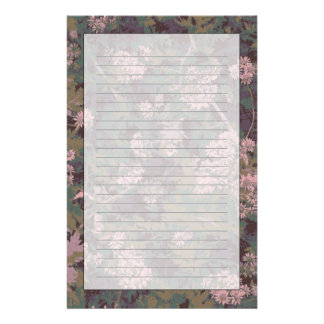 Flowers, leafs, and camouflage personalized stationery